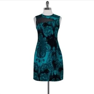 Nanette Lenore Silken Teal/Black Abstract Dress